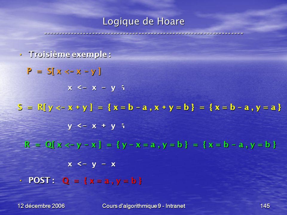 12 décembre 2006Cours d algorithmique 9 - Intranet145 Logique de Hoare ----------------------------------------------------------------- Troisième exemple : Troisième exemple : POST : POST : x <- x - y ; y <- x + y ; x <- y - x Q = { x = a, y = b } R = Q[ x < - y - x ] = { y – x = a, y = b } = { x = b - a, y = b } S = R[ y < - x + y ] = { x = b – a, x + y = b } = { x = b – a, y = a } P = S[ x < - x - y ]