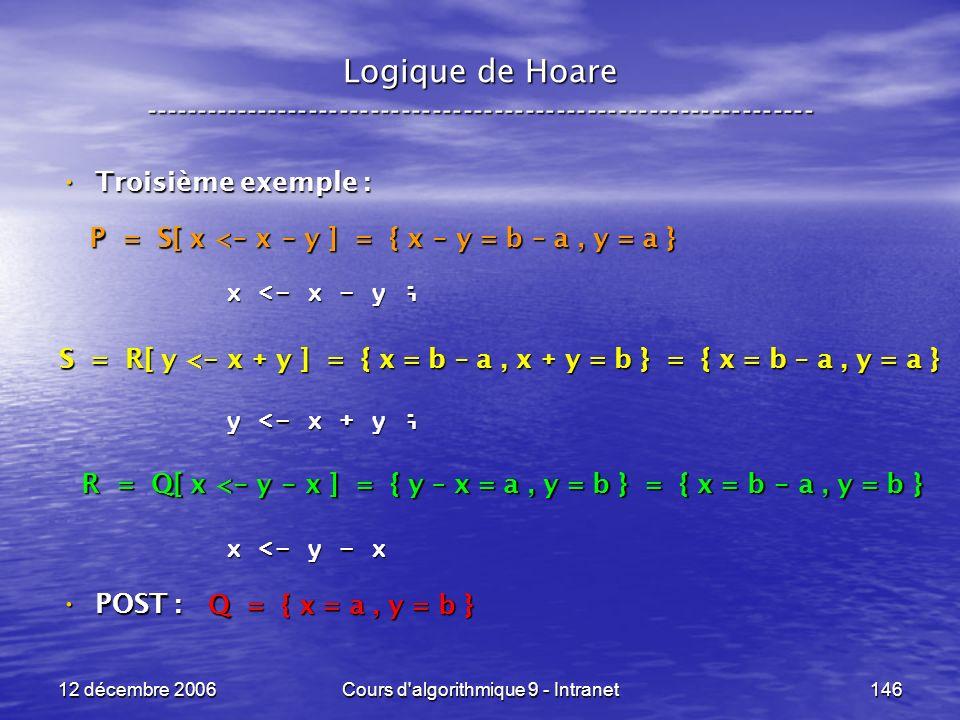 12 décembre 2006Cours d algorithmique 9 - Intranet146 Logique de Hoare ----------------------------------------------------------------- Troisième exemple : Troisième exemple : POST : POST : x <- x - y ; y <- x + y ; x <- y - x Q = { x = a, y = b } R = Q[ x < - y - x ] = { y – x = a, y = b } = { x = b - a, y = b } S = R[ y < - x + y ] = { x = b – a, x + y = b } = { x = b – a, y = a } P = S[ x < - x - y ] = { x - y = b – a, y = a }