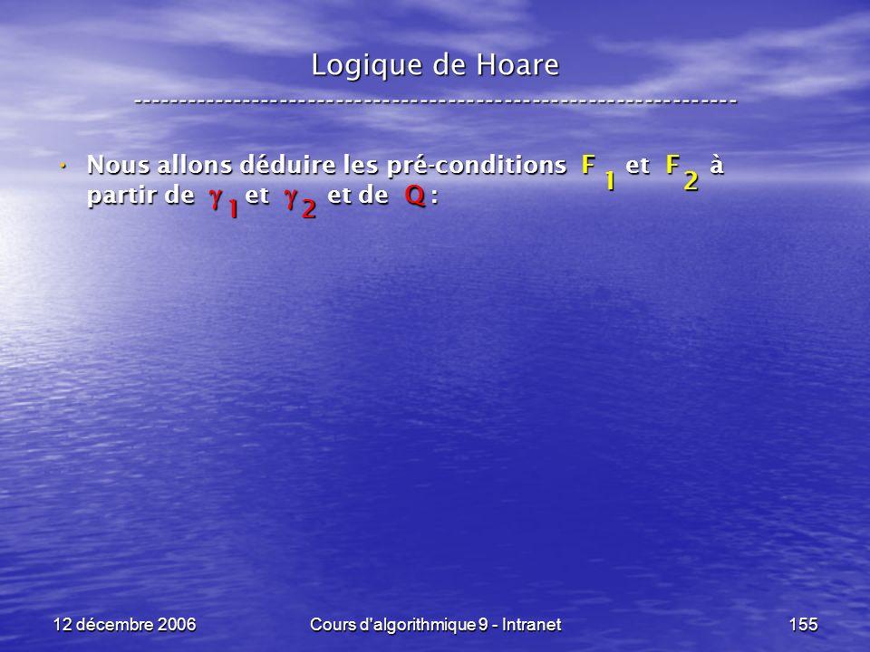12 décembre 2006Cours d algorithmique 9 - Intranet155 Logique de Hoare ----------------------------------------------------------------- Nous allons déduire les pré-conditions F et F à partir de et et de Q : Nous allons déduire les pré-conditions F et F à partir de et et de Q : 21 12