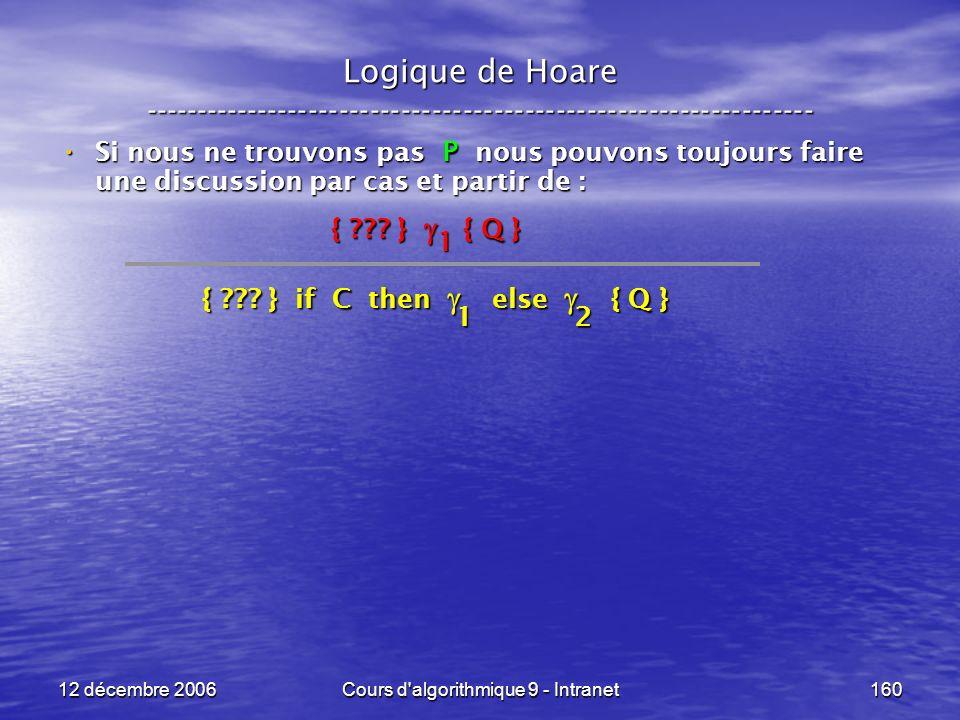 12 décembre 2006Cours d algorithmique 9 - Intranet160 Logique de Hoare ----------------------------------------------------------------- Si nous ne trouvons pas P nous pouvons toujours faire une discussion par cas et partir de : Si nous ne trouvons pas P nous pouvons toujours faire une discussion par cas et partir de : { .
