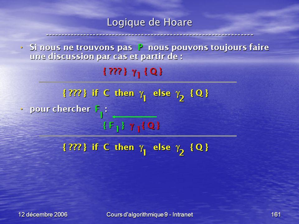 12 décembre 2006Cours d algorithmique 9 - Intranet161 Logique de Hoare ----------------------------------------------------------------- Si nous ne trouvons pas P nous pouvons toujours faire une discussion par cas et partir de : Si nous ne trouvons pas P nous pouvons toujours faire une discussion par cas et partir de : pour chercher F : pour chercher F : { .