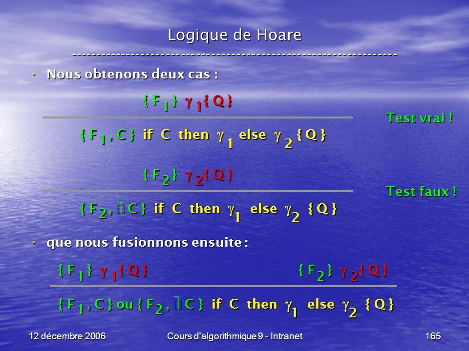 12 décembre 2006Cours d algorithmique 9 - Intranet165 Logique de Hoare ----------------------------------------------------------------- Nous obtenons deux cas : Nous obtenons deux cas : que nous fusionnons ensuite : que nous fusionnons ensuite : { F, C } if C then else { Q } 1 2 { F } { Q } 1 1 1 Test vrai .