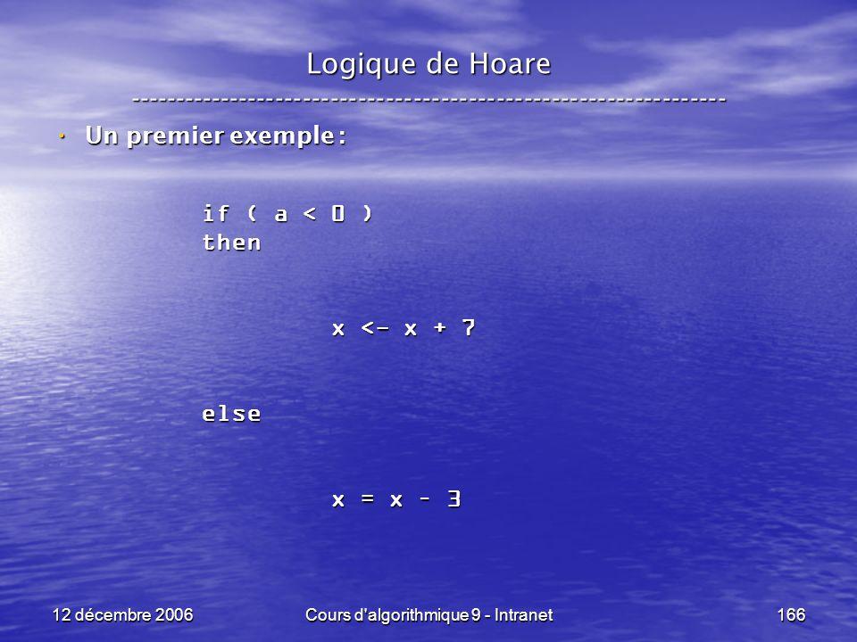 12 décembre 2006Cours d algorithmique 9 - Intranet166 Logique de Hoare ----------------------------------------------------------------- Un premier exemple : Un premier exemple : if ( a < 0 ) then x <- x + 7 x <- x + 7else x = x – 3 x = x – 3
