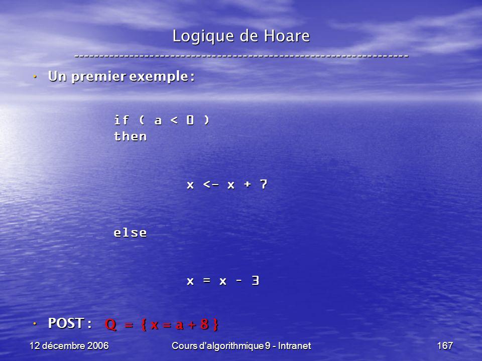 12 décembre 2006Cours d algorithmique 9 - Intranet167 Logique de Hoare ----------------------------------------------------------------- Un premier exemple : Un premier exemple : POST : POST : if ( a < 0 ) then x <- x + 7 x <- x + 7else x = x – 3 x = x – 3 Q = { x = a + 8 }