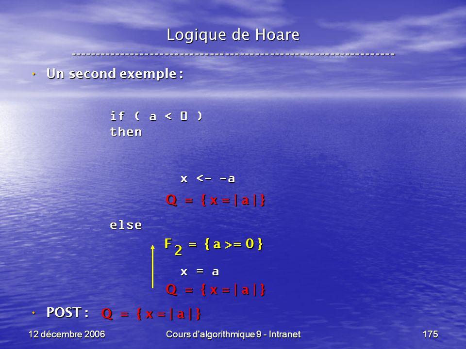 12 décembre 2006Cours d algorithmique 9 - Intranet175 Logique de Hoare ----------------------------------------------------------------- Un second exemple : Un second exemple : POST : POST : if ( a < 0 ) then x <- -a x <- -aelse x = a x = a Q = { x = | a | } F = { a >= 0 } 2