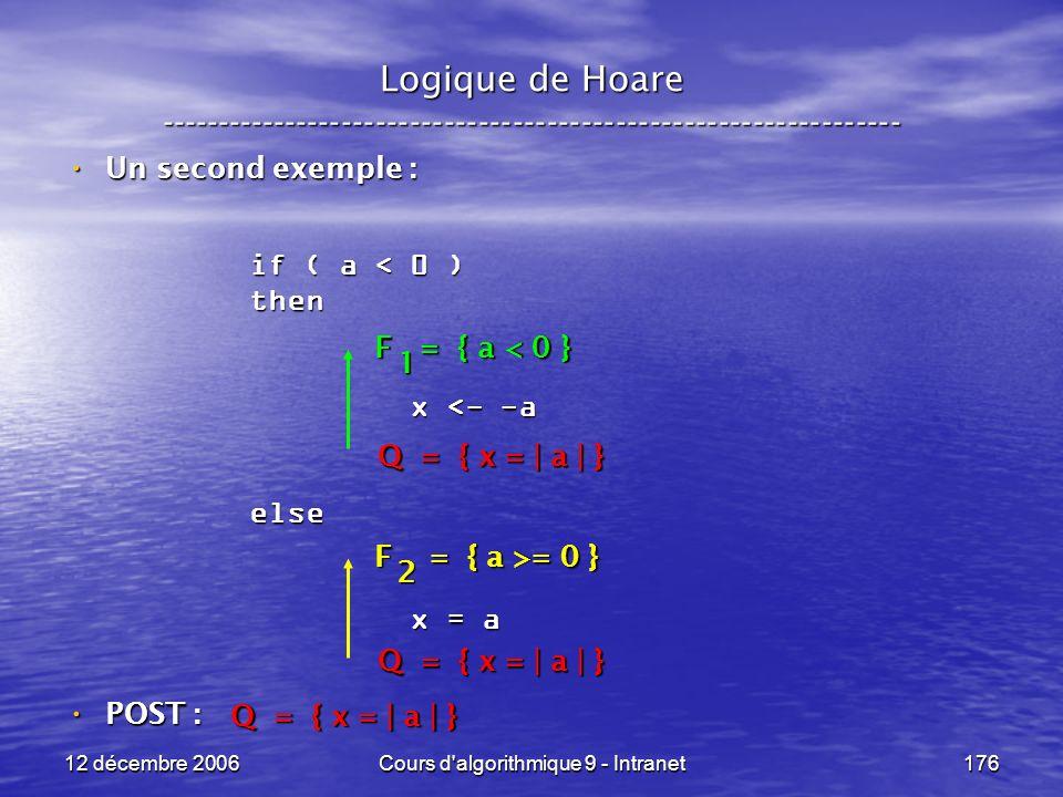 12 décembre 2006Cours d algorithmique 9 - Intranet176 Logique de Hoare ----------------------------------------------------------------- Un second exemple : Un second exemple : POST : POST : if ( a < 0 ) then x <- -a x <- -aelse x = a x = a Q = { x = | a | } F = { a >= 0 } 2 F = { a < 0 } 1