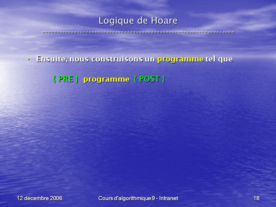 12 décembre 2006Cours d algorithmique 9 - Intranet18 Logique de Hoare ----------------------------------------------------------------- Ensuite, nous construisons un programme tel que Ensuite, nous construisons un programme tel que { PRE } programme { POST } { PRE } programme { POST }