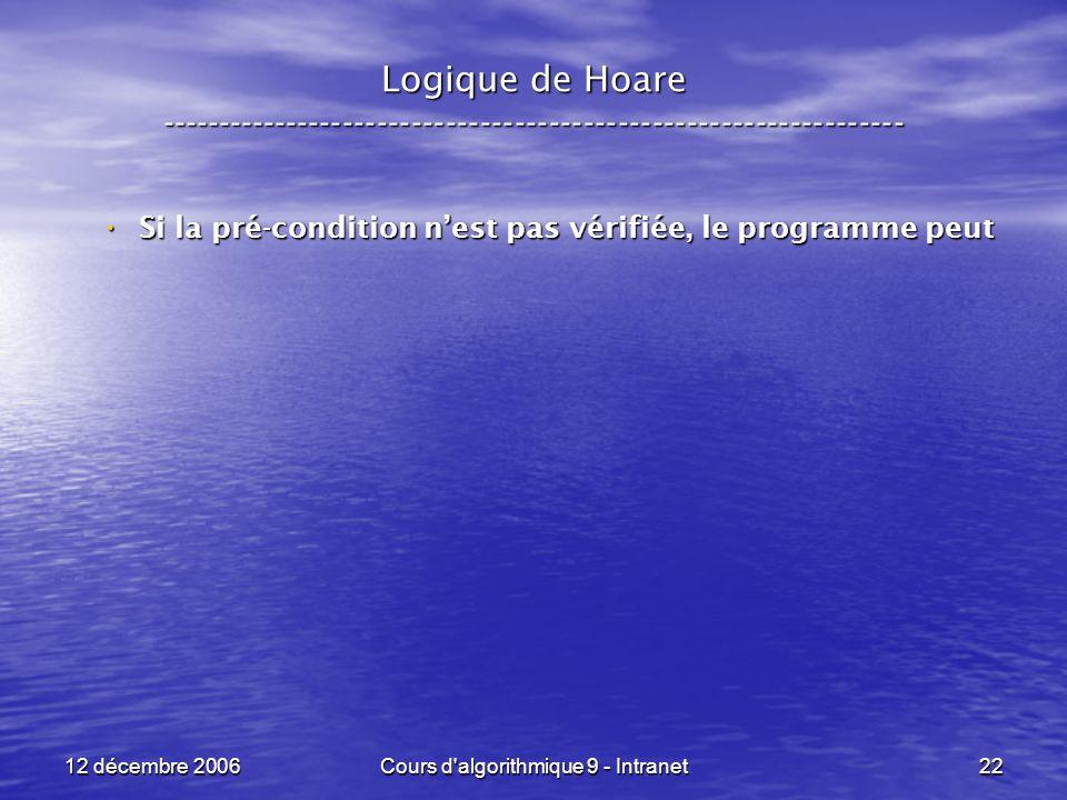 12 décembre 2006Cours d algorithmique 9 - Intranet22 Logique de Hoare ----------------------------------------------------------------- Si la pré-condition nest pas vérifiée, le programme peut Si la pré-condition nest pas vérifiée, le programme peut