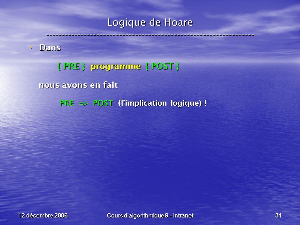 12 décembre 2006Cours d algorithmique 9 - Intranet31 Logique de Hoare ----------------------------------------------------------------- Dans Dans { PRE } programme { POST } { PRE } programme { POST } nous avons en fait nous avons en fait PRE => POST (limplication logique) .
