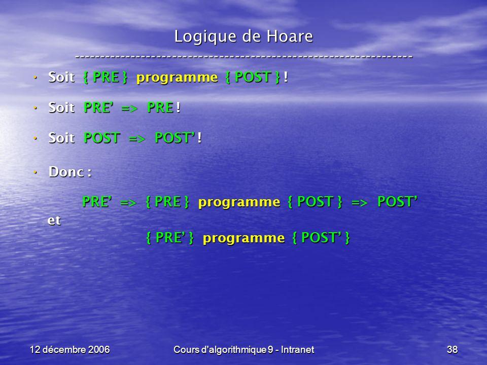 12 décembre 2006Cours d algorithmique 9 - Intranet38 Logique de Hoare ----------------------------------------------------------------- Soit { PRE } programme { POST } .