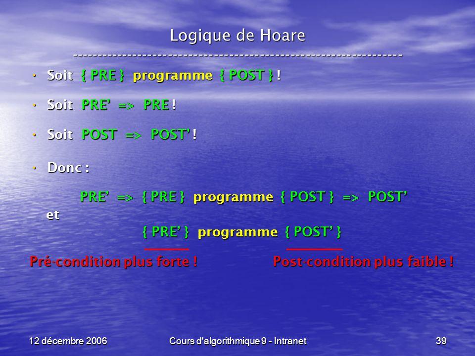12 décembre 2006Cours d algorithmique 9 - Intranet39 Logique de Hoare ----------------------------------------------------------------- Soit { PRE } programme { POST } .