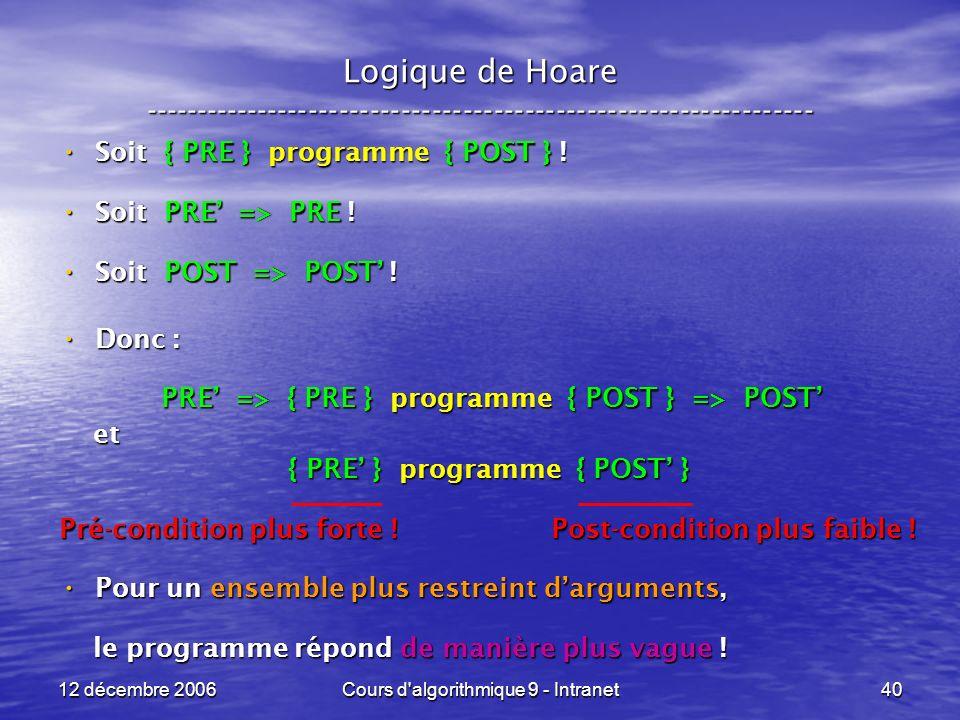 12 décembre 2006Cours d algorithmique 9 - Intranet40 Logique de Hoare ----------------------------------------------------------------- Soit { PRE } programme { POST } .