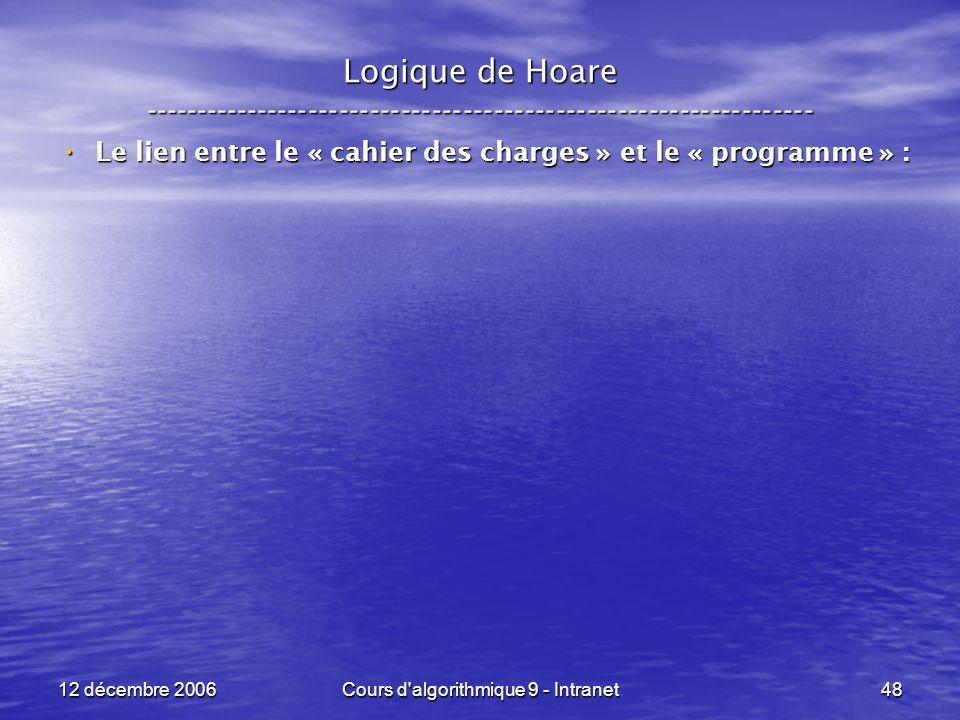 12 décembre 2006Cours d algorithmique 9 - Intranet48 Logique de Hoare ----------------------------------------------------------------- Le lien entre le « cahier des charges » et le « programme » : Le lien entre le « cahier des charges » et le « programme » :