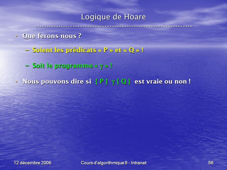 12 décembre 2006Cours d algorithmique 9 - Intranet56 Logique de Hoare ----------------------------------------------------------------- Que ferons-nous .