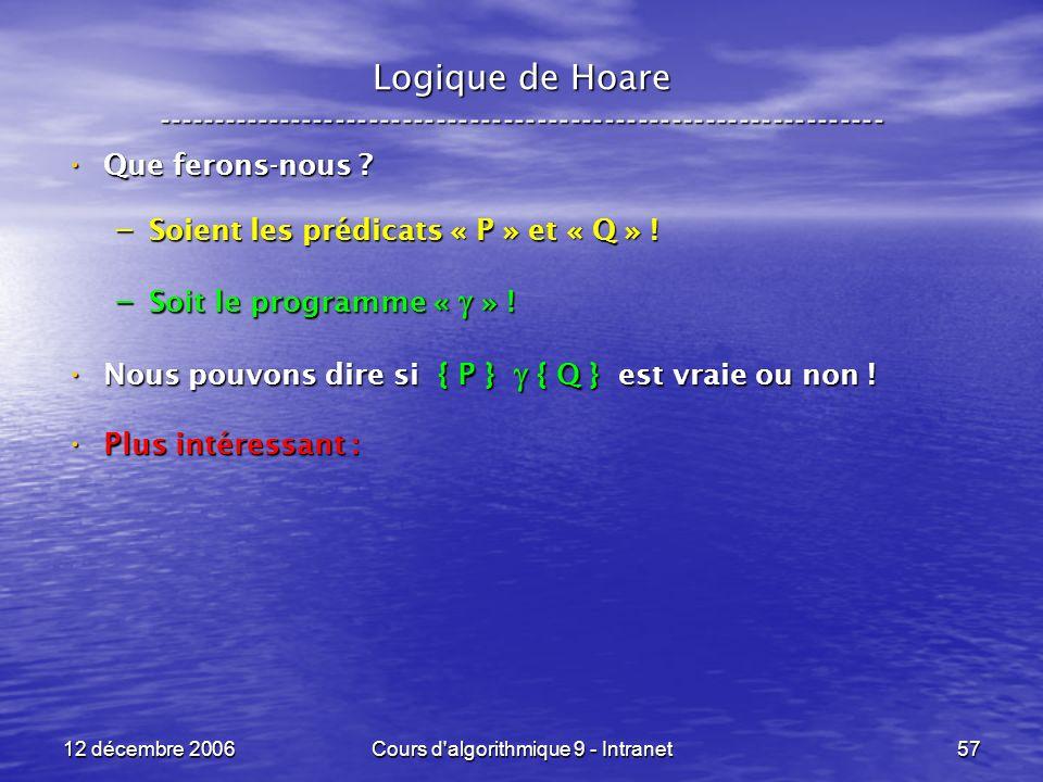 12 décembre 2006Cours d algorithmique 9 - Intranet57 Logique de Hoare ----------------------------------------------------------------- Que ferons-nous .