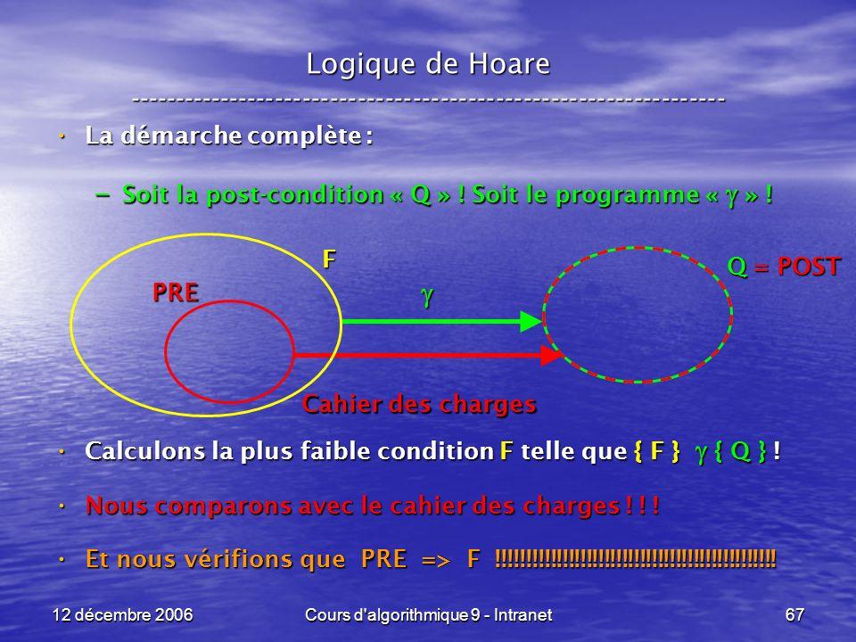 12 décembre 2006Cours d algorithmique 9 - Intranet67 Logique de Hoare ----------------------------------------------------------------- La démarche complète : La démarche complète : – Soit la post-condition « Q » .