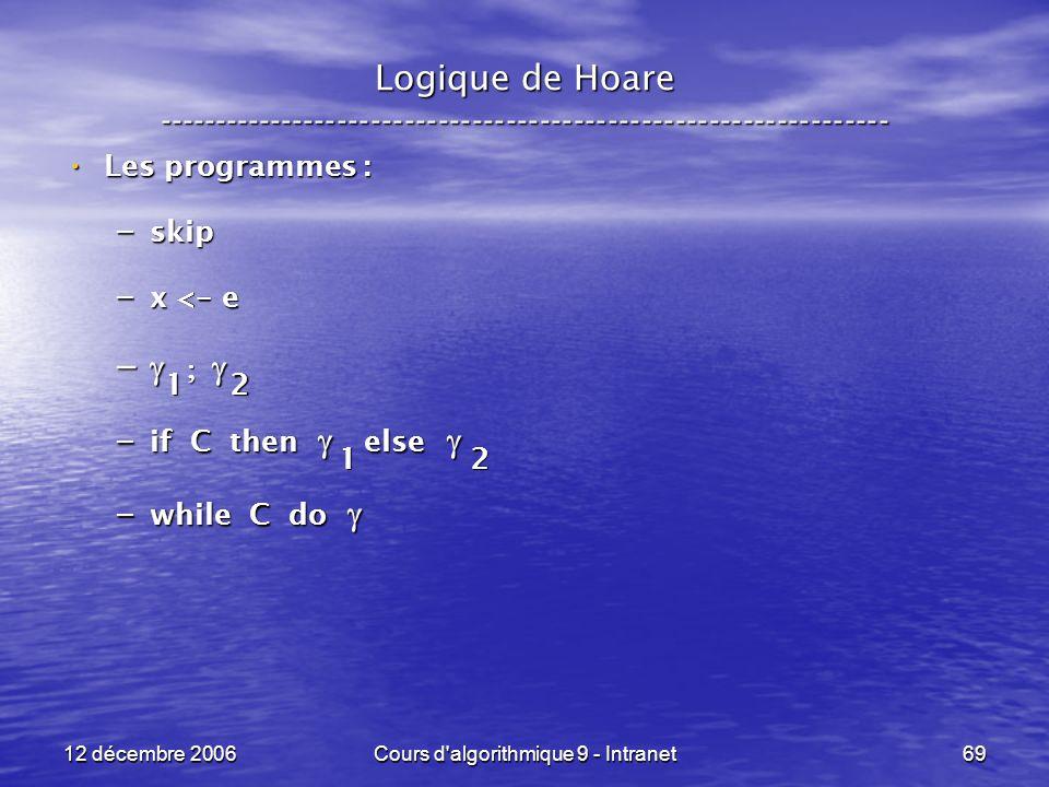 12 décembre 2006Cours d algorithmique 9 - Intranet69 Logique de Hoare ----------------------------------------------------------------- Les programmes : Les programmes : – skip – x < - e – – – if C then else – if C then else – while C do – while C do 2 1 1 2