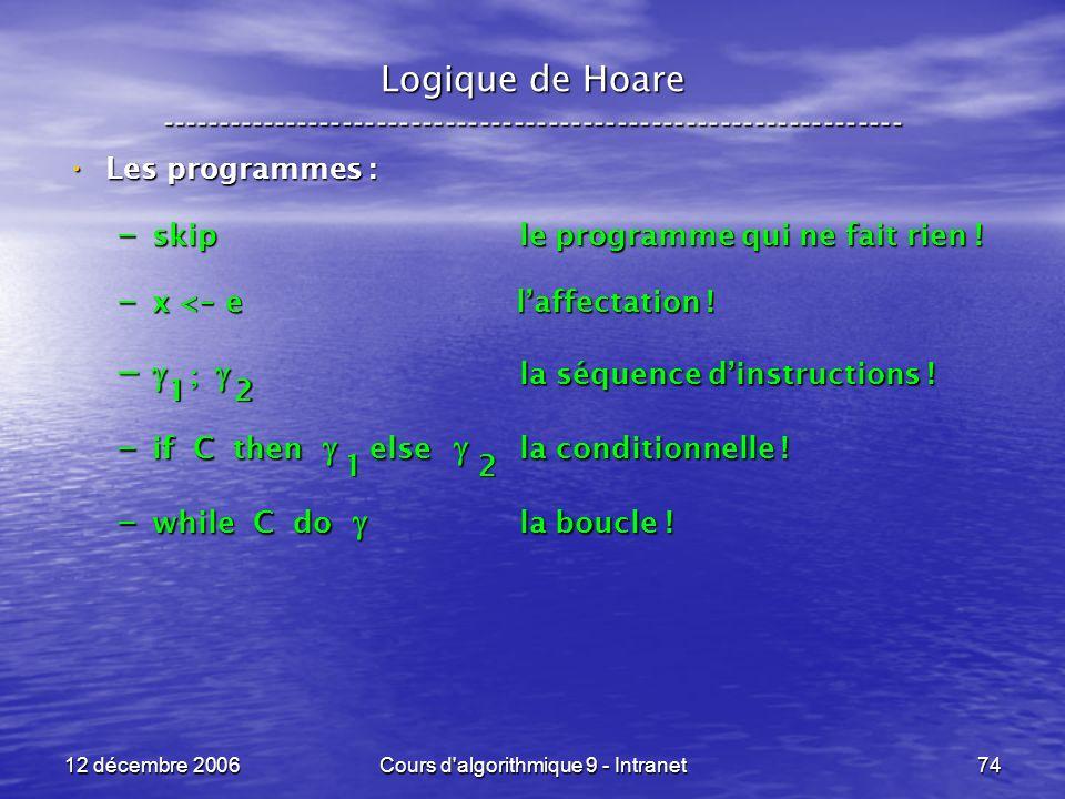 12 décembre 2006Cours d algorithmique 9 - Intranet74 Logique de Hoare ----------------------------------------------------------------- Les programmes : Les programmes : – skip le programme qui ne fait rien .