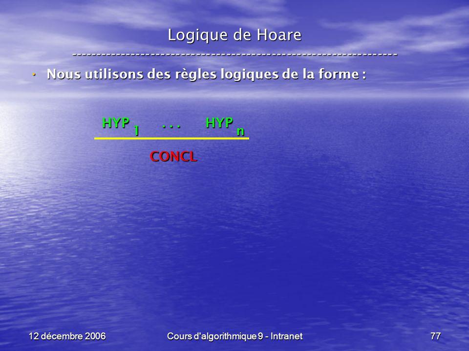 12 décembre 2006Cours d algorithmique 9 - Intranet77 Logique de Hoare ----------------------------------------------------------------- Nous utilisons des règles logiques de la forme : Nous utilisons des règles logiques de la forme : HYP...
