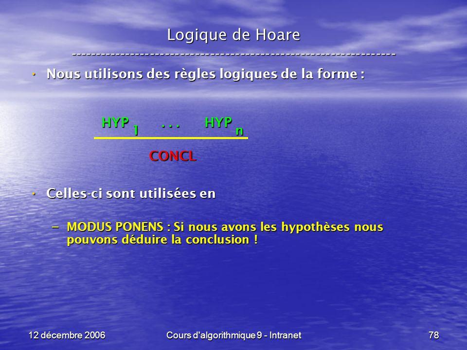 12 décembre 2006Cours d algorithmique 9 - Intranet78 Logique de Hoare ----------------------------------------------------------------- Nous utilisons des règles logiques de la forme : Nous utilisons des règles logiques de la forme : Celles-ci sont utilisées en Celles-ci sont utilisées en – MODUS PONENS : Si nous avons les hypothèses nous pouvons déduire la conclusion .