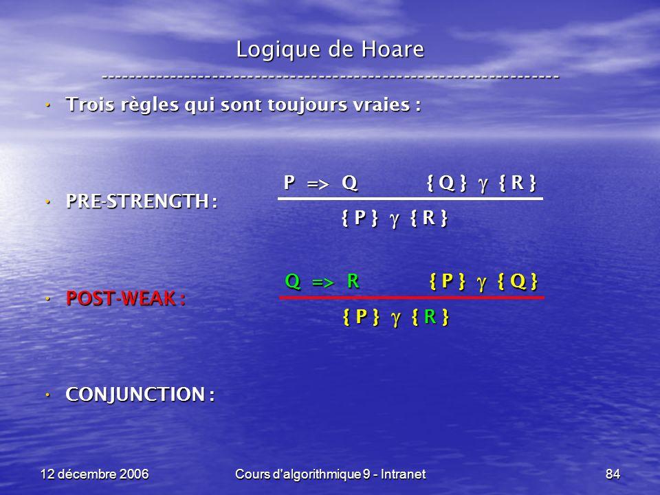 12 décembre 2006Cours d algorithmique 9 - Intranet84 Logique de Hoare ----------------------------------------------------------------- Trois règles qui sont toujours vraies : Trois règles qui sont toujours vraies : PRE-STRENGTH : PRE-STRENGTH : POST-WEAK : POST-WEAK : CONJUNCTION : CONJUNCTION : P => Q { Q } { R } { P } { R } Q => R { P } { Q } { P } { R }