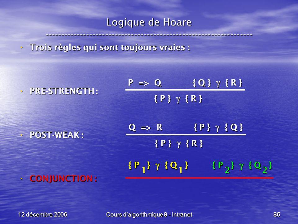12 décembre 2006Cours d algorithmique 9 - Intranet85 Logique de Hoare ----------------------------------------------------------------- Trois règles qui sont toujours vraies : Trois règles qui sont toujours vraies : PRE-STRENGTH : PRE-STRENGTH : POST-WEAK : POST-WEAK : CONJUNCTION : CONJUNCTION : P => Q { Q } { R } { P } { R } Q => R { P } { Q } { P } { R } { P } { Q } 1 1 { P } { Q } 2 2