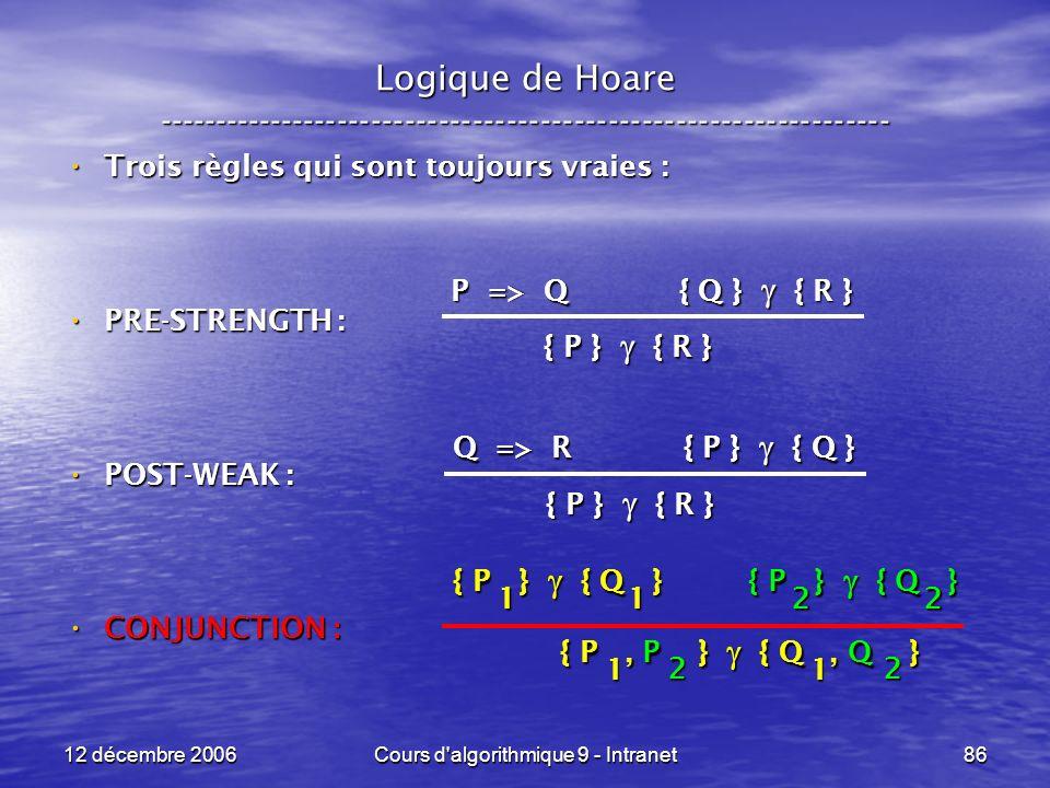12 décembre 2006Cours d algorithmique 9 - Intranet86 Logique de Hoare ----------------------------------------------------------------- Trois règles qui sont toujours vraies : Trois règles qui sont toujours vraies : PRE-STRENGTH : PRE-STRENGTH : POST-WEAK : POST-WEAK : CONJUNCTION : CONJUNCTION : P => Q { Q } { R } { P } { R } Q => R { P } { Q } { P } { R } { P } { Q } 1 1 { P } { Q } 2 2 { P, P } { Q, Q } 1 1 2 2