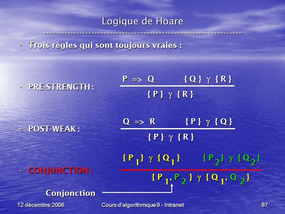 12 décembre 2006Cours d algorithmique 9 - Intranet87 Logique de Hoare ----------------------------------------------------------------- Trois règles qui sont toujours vraies : Trois règles qui sont toujours vraies : PRE-STRENGTH : PRE-STRENGTH : POST-WEAK : POST-WEAK : CONJUNCTION : CONJUNCTION : P => Q { Q } { R } { P } { R } Q => R { P } { Q } { P } { R } { P } { Q } 1 1 { P } { Q } 2 2 { P, P } { Q, Q } 1 1 2 2 Conjonction