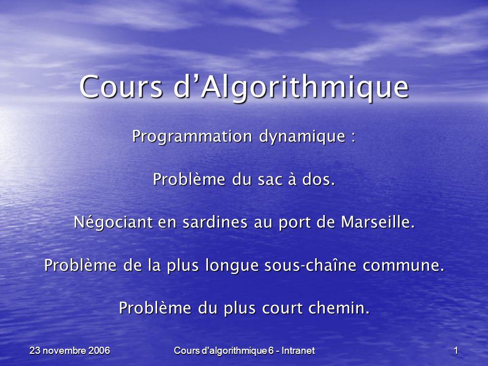 23 novembre 2006Cours d algorithmique 6 - Intranet112, si u = ou v =, si u = ou v = a.