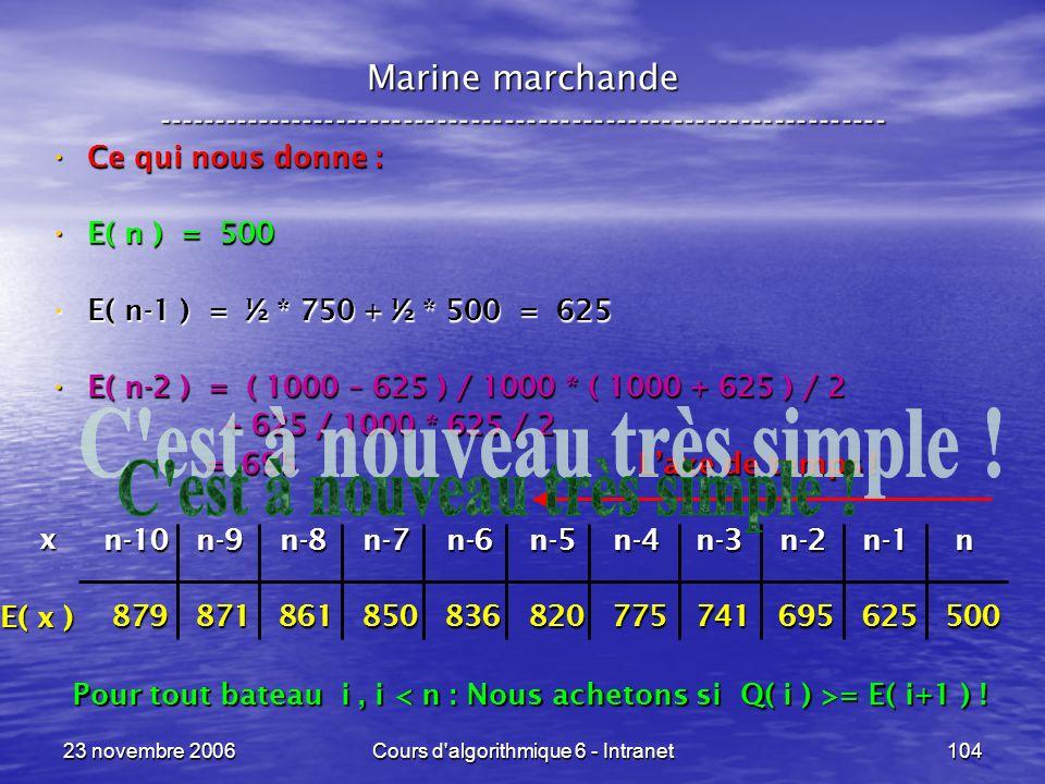 23 novembre 2006Cours d algorithmique 6 - Intranet104 Ce qui nous donne : Ce qui nous donne : E( n ) = 500 E( n ) = 500 E( n-1 ) = ½ * 750 + ½ * 500 = 625 E( n-1 ) = ½ * 750 + ½ * 500 = 625 E( n-2 ) = ( 1000 – 625 ) / 1000 * ( 1000 + 625 ) / 2 E( n-2 ) = ( 1000 – 625 ) / 1000 * ( 1000 + 625 ) / 2 + 625 / 1000 * 625 / 2 + 625 / 1000 * 625 / 2 = 695 = 695 n-10 n-9 n-8 n-7 n-6 n-5 n-4 n-3 n-2 n-1 n n-10 n-9 n-8 n-7 n-6 n-5 n-4 n-3 n-2 n-1 n 879 871 861 850 836 820 775 741 695 625 500 879 871 861 850 836 820 775 741 695 625 500 Marine marchande ----------------------------------------------------------------- E( x ) x Pour tout bateau i, i = E( i+1 ) .