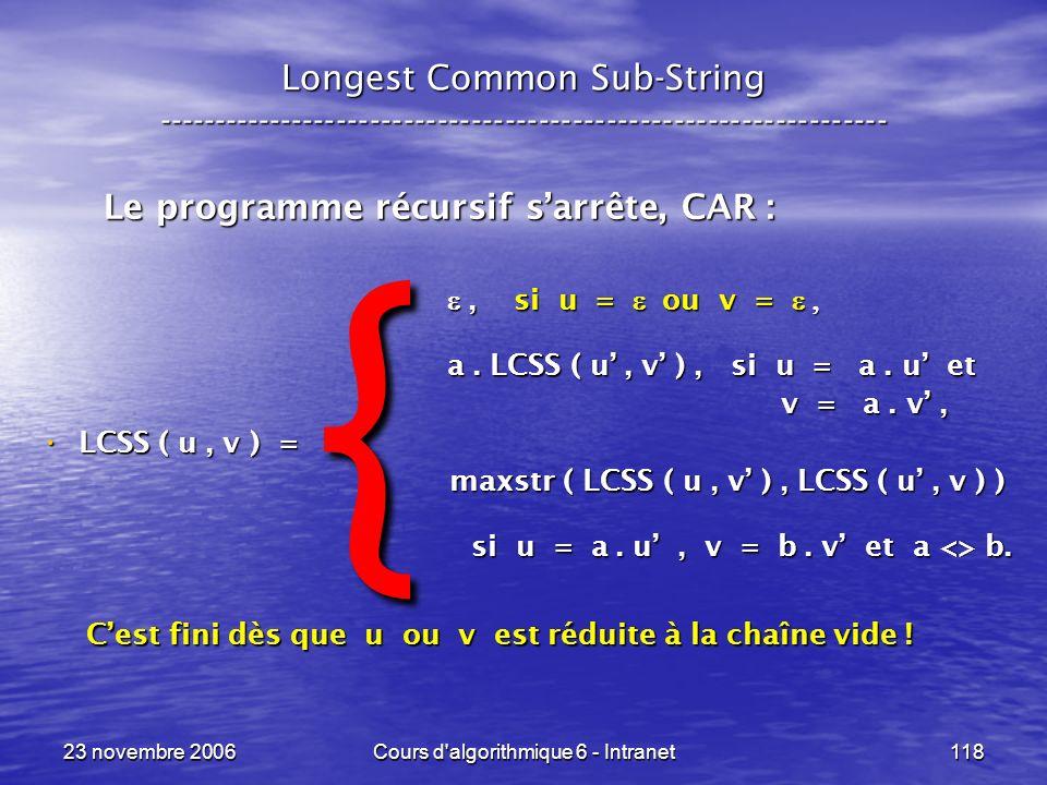 23 novembre 2006Cours d algorithmique 6 - Intranet118, si u = ou v =, si u = ou v = a.
