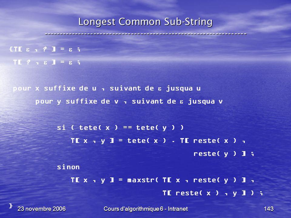 23 novembre 2006Cours d algorithmique 6 - Intranet143 {T[, .