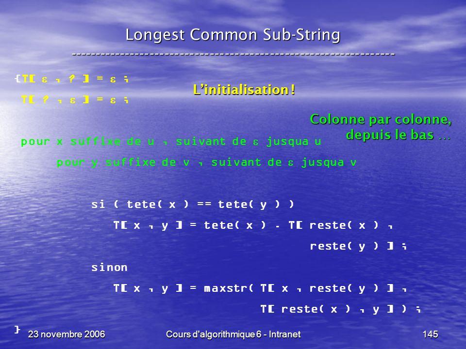 23 novembre 2006Cours d algorithmique 6 - Intranet145 {T[, .