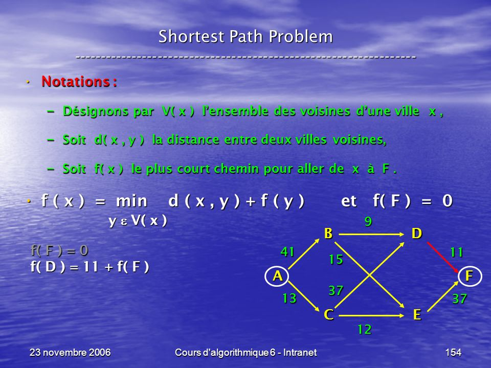 23 novembre 2006Cours d'algorithmique 6 - Intranet154 Shortest Path Problem ----------------------------------------------------------------- Notation