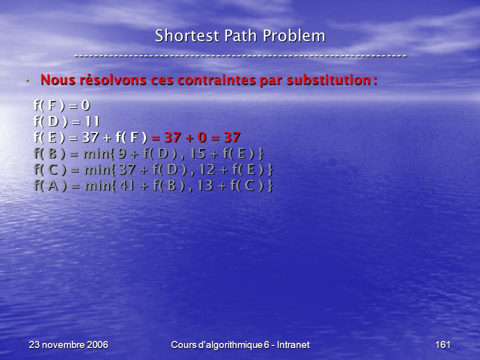 23 novembre 2006Cours d'algorithmique 6 - Intranet161 Shortest Path Problem ----------------------------------------------------------------- Nous rés