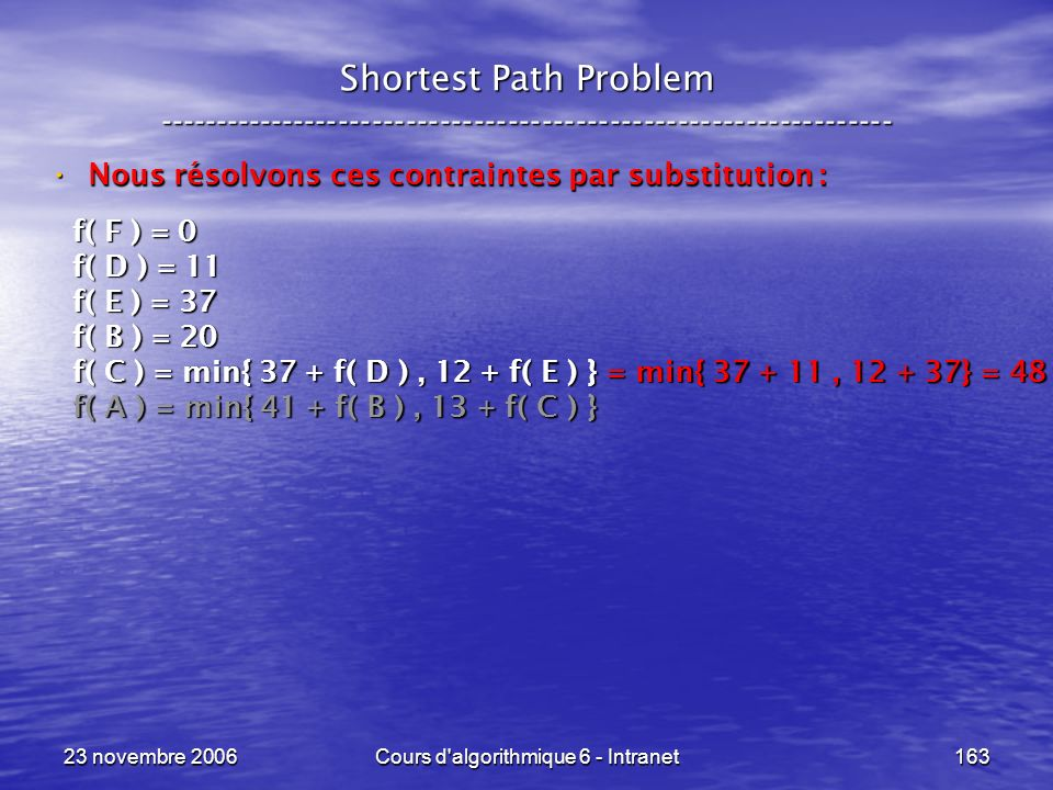 23 novembre 2006Cours d'algorithmique 6 - Intranet163 Shortest Path Problem ----------------------------------------------------------------- Nous rés