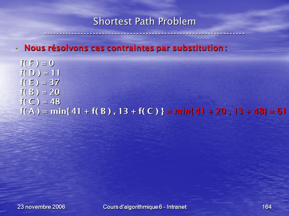 23 novembre 2006Cours d'algorithmique 6 - Intranet164 Shortest Path Problem ----------------------------------------------------------------- Nous rés