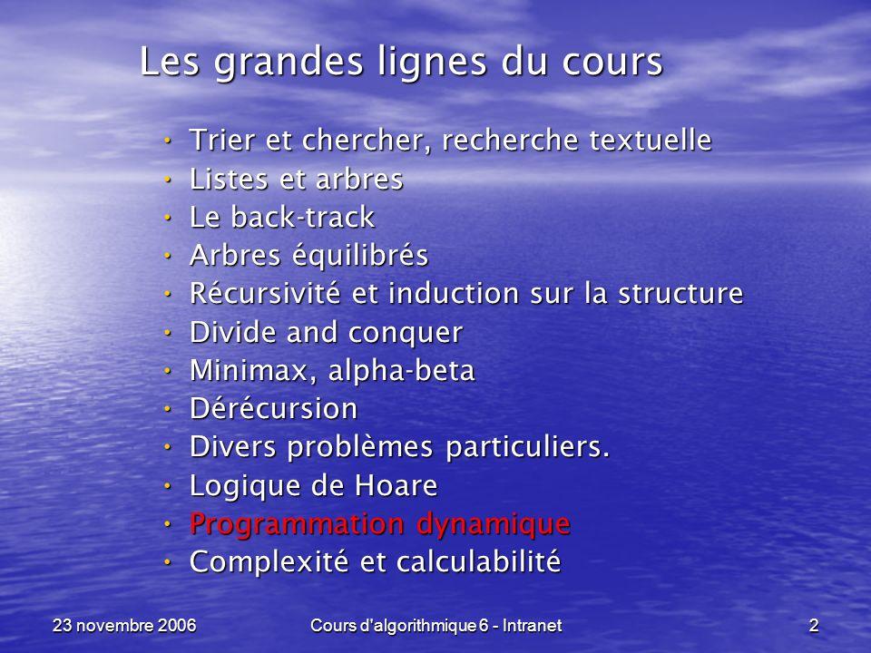 23 novembre 2006Cours d algorithmique 6 - Intranet33 Dynamic Programming ----------------------------------------------------------------- Parfois, la programmation dynamique est Parfois, la programmation dynamique est la transformation dun problème de back-track ou divide-and-conquer la transformation dun problème de back-track ou divide-and-conquer avec un comportement temporel anarchique avec un comportement temporel anarchique en un problème qui réalise les calculs une et une seule fois, et lorsquil le faut .