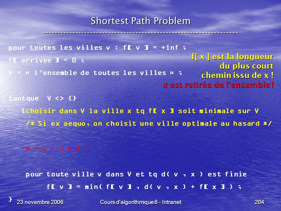23 novembre 2006Cours d algorithmique 6 - Intranet204 Shortest Path Problem ----------------------------------------------------------------- pour toutes les villes v : f[ v ] = +inf ; f[ arrivee ] = 0 ; V = « lensemble de toutes les villes » ; tantque V <> {} {choisir dans V la ville x tq f[ x ] soit minimale sur V /* Si ex aequo, on choisit une ville optimale au hasard */ V = V – { x } ; pour toute ville v dans V et tq d( v, x ) est finie f[ v ] = min( f[ v ], d( v, x ) + f[ x ] ) ; } f[ x ] est la longueur du plus court chemin issu de x .