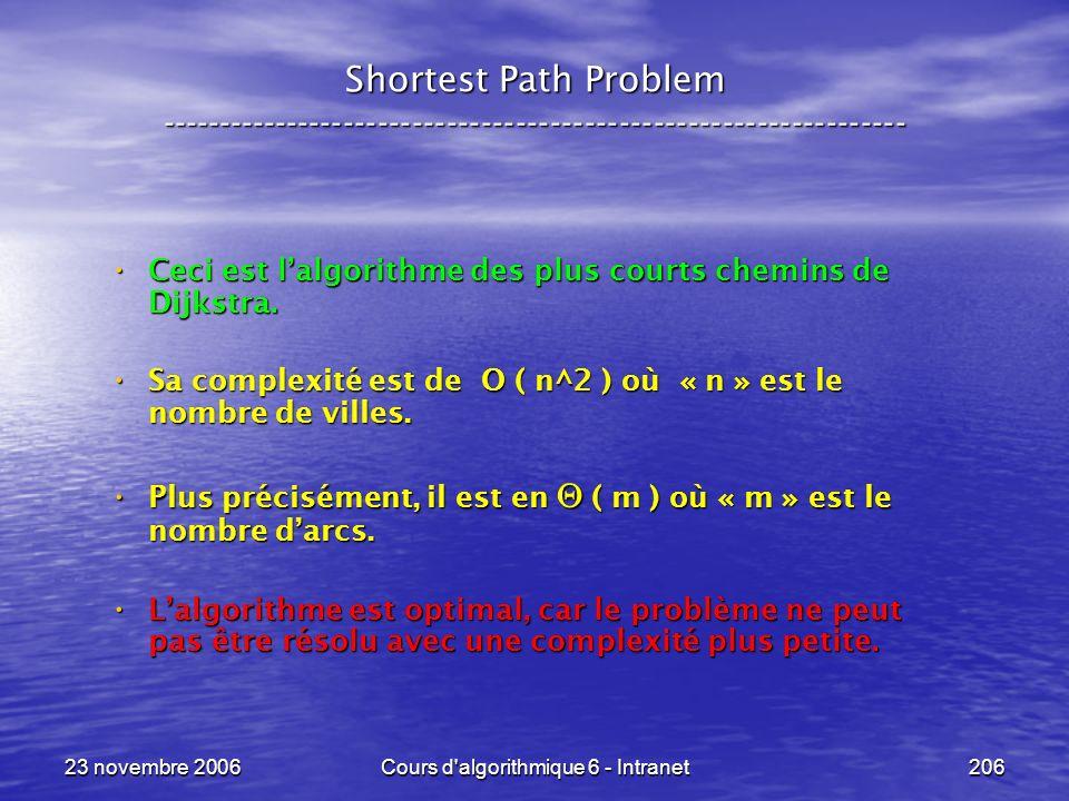 23 novembre 2006Cours d algorithmique 6 - Intranet206 Shortest Path Problem ----------------------------------------------------------------- Ceci est lalgorithme des plus courts chemins de Dijkstra.