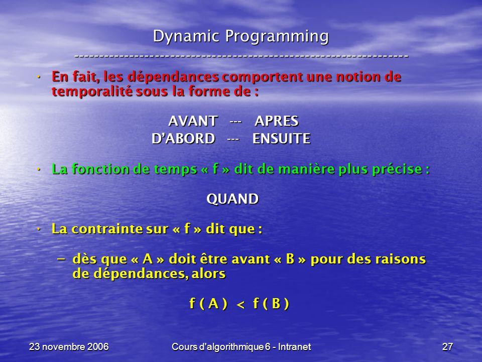 23 novembre 2006Cours d algorithmique 6 - Intranet27 Dynamic Programming ----------------------------------------------------------------- En fait, les dépendances comportent une notion de temporalité sous la forme de : En fait, les dépendances comportent une notion de temporalité sous la forme de : AVANT --- APRES AVANT --- APRES DABORD --- ENSUITE DABORD --- ENSUITE La fonction de temps « f » dit de manière plus précise : La fonction de temps « f » dit de manière plus précise : QUAND QUAND La contrainte sur « f » dit que : La contrainte sur « f » dit que : – dès que « A » doit être avant « B » pour des raisons de dépendances, alors f ( A ) < f ( B ) f ( A ) < f ( B )