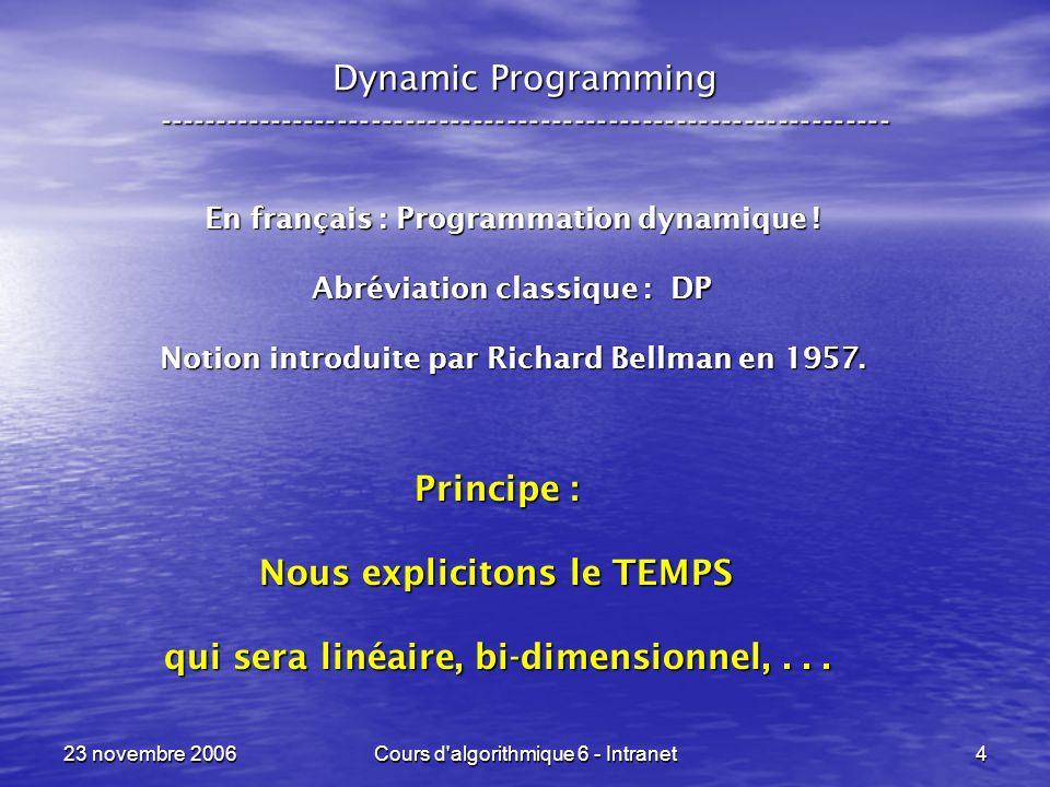 23 novembre 2006Cours d algorithmique 6 - Intranet45 Sac à dos --- Knapsack ----------------------------------------------------------------- Correct, mais … Correct, mais … {int max_benefice = 0 ; pour k allant de 1 à n faire pour chaque ensemble I, de taille k et sous-ensemble de { 1,..., n } faire si ( P ( I ) <= C ) max_benefice = max ( B ( I ), max_benefice ) ; } Toutes les tailles possibles pour les sous-ensembles.