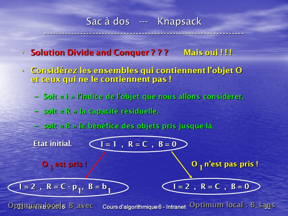 23 novembre 2006Cours d'algorithmique 6 - Intranet53 Sac à dos --- Knapsack ----------------------------------------------------------------- Solution
