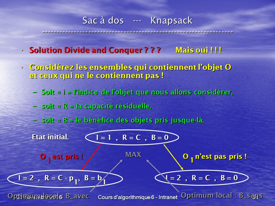 23 novembre 2006Cours d'algorithmique 6 - Intranet54 Sac à dos --- Knapsack ----------------------------------------------------------------- Solution