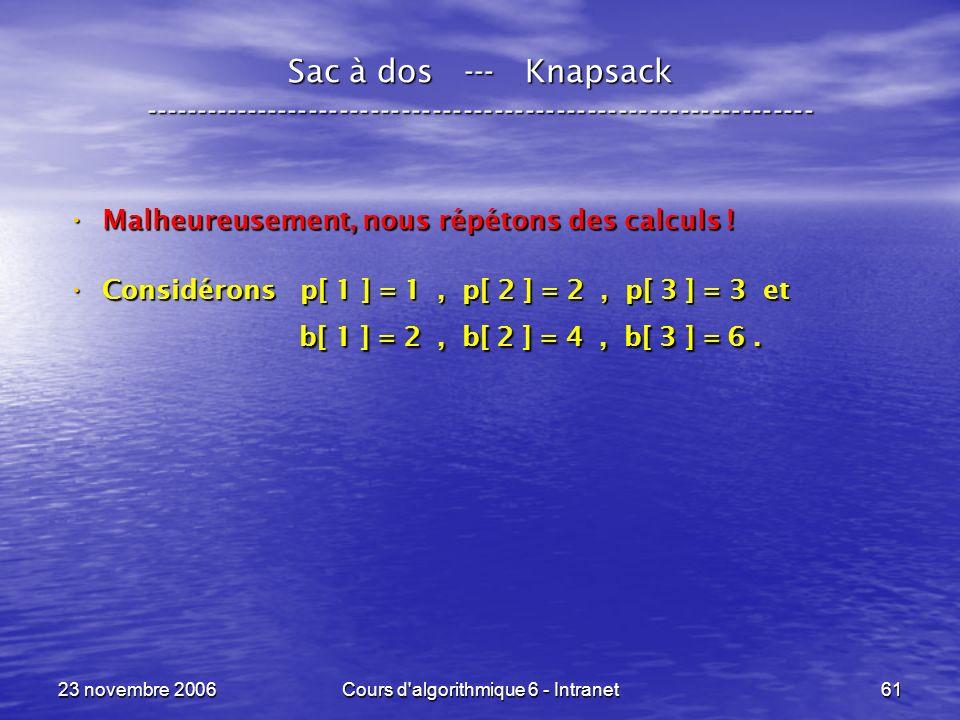 23 novembre 2006Cours d algorithmique 6 - Intranet61 Sac à dos --- Knapsack ----------------------------------------------------------------- Malheureusement, nous répétons des calculs .