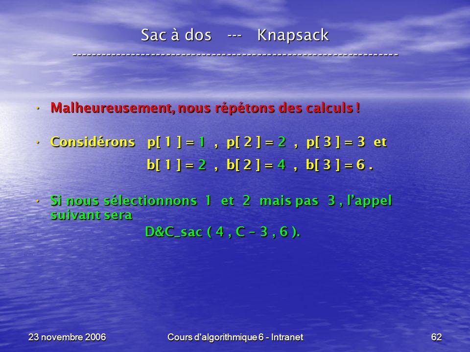 23 novembre 2006Cours d algorithmique 6 - Intranet62 Sac à dos --- Knapsack ----------------------------------------------------------------- Malheureusement, nous répétons des calculs .