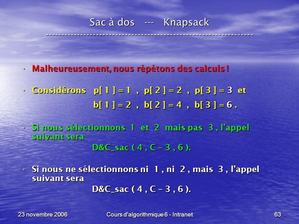 23 novembre 2006Cours d algorithmique 6 - Intranet63 Sac à dos --- Knapsack ----------------------------------------------------------------- Malheureusement, nous répétons des calculs .