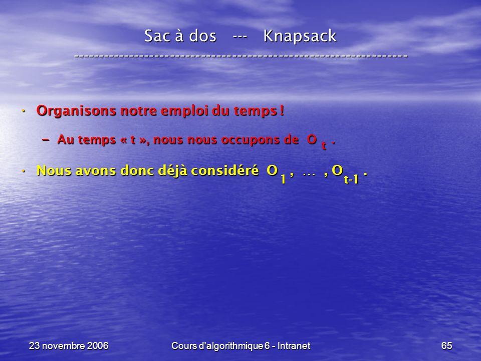23 novembre 2006Cours d algorithmique 6 - Intranet65 Sac à dos --- Knapsack ----------------------------------------------------------------- Organisons notre emploi du temps .