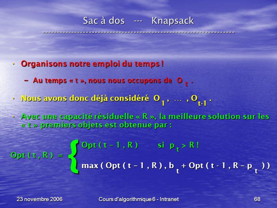 23 novembre 2006Cours d algorithmique 6 - Intranet68 Sac à dos --- Knapsack ----------------------------------------------------------------- Organisons notre emploi du temps .