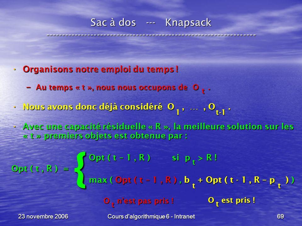23 novembre 2006Cours d algorithmique 6 - Intranet69 Sac à dos --- Knapsack ----------------------------------------------------------------- Organisons notre emploi du temps .